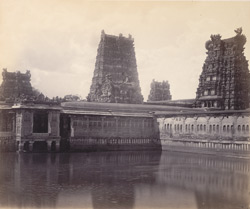 Madura. The Great Pagoda [Minakshi Sundareshvara Temple]. The Golden Lotus Tank.